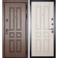 Металлическая дверь МИР ДВЕРЕЙ 43 орех бренди/светлое дерево